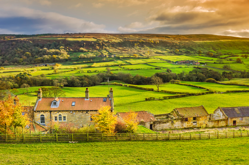 Traditional farmhouse in the North York Moors, Yorkshire, UK.